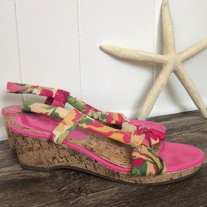 Reaction Pink Floral Strappy Wedges Pin Up 7.5